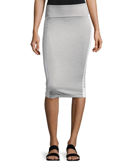 Puma Archive Logo Pencil Midi Skirt, Light Gray