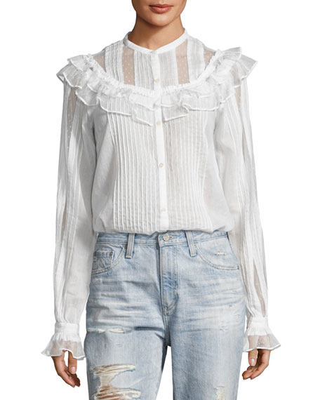 McQ Alexander McQueen Pintuck Ruffled Cotton Shirt, White