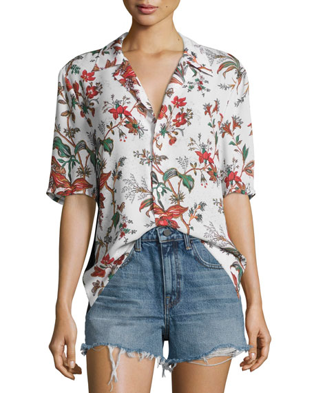 McQ Alexander McQueen Billy Short-Sleeve Printed Top,