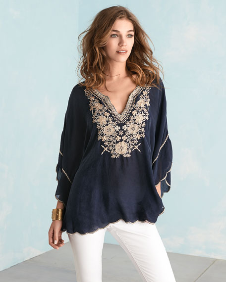 johnny was embroidered georgette poncho tunic, plus size