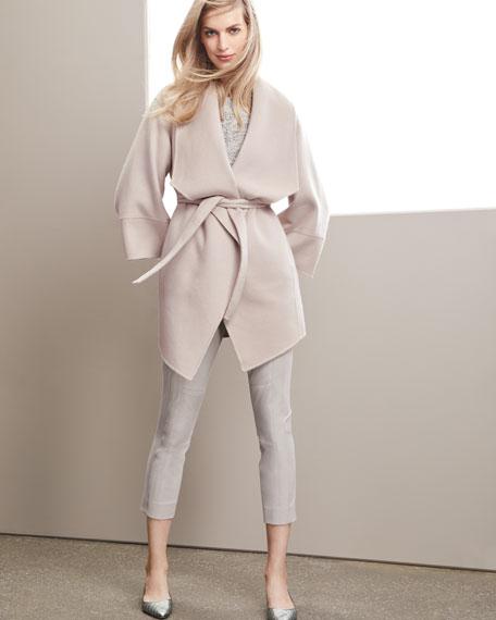 Luxury Double-Faced Cashmere Kimono Wrap Coat