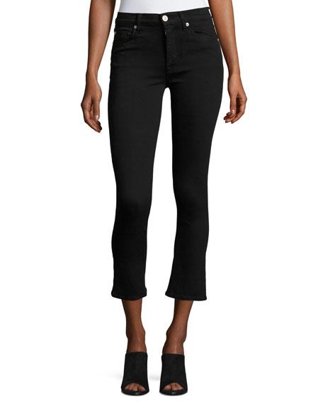 Hudson Harper High-Rise Crop Baby Kick-Flare Jeans, Black