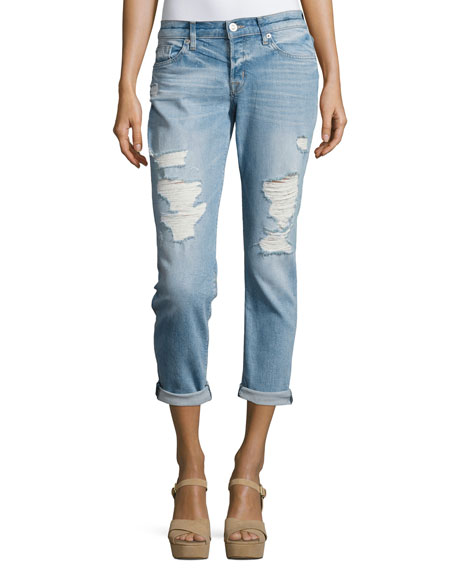 Riley Crop Relaxed Straight Jeans, Indigo