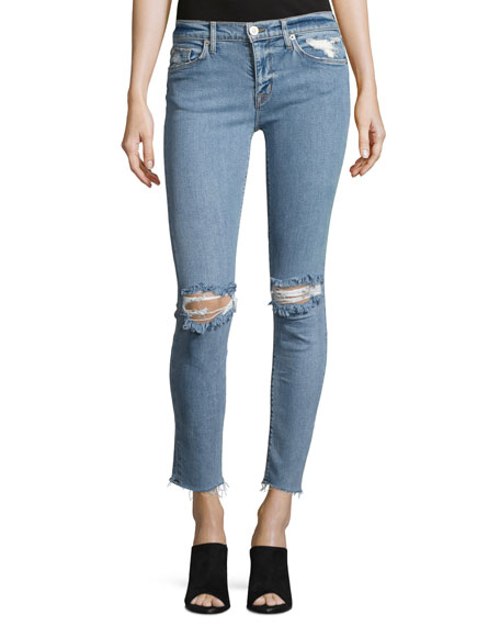 Hudson Nico Mid-Rise Ankle Raw-Hem Super Skinny Jeans,