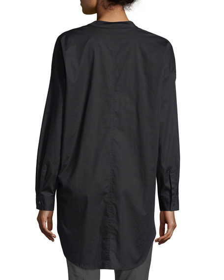 Mandarin-Collar Stretch-Lawn Button-Front Shirt, Petite