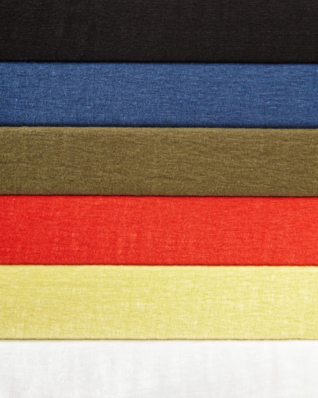 Bateau-Neck Organic Linen Jersey Top, Plus Size