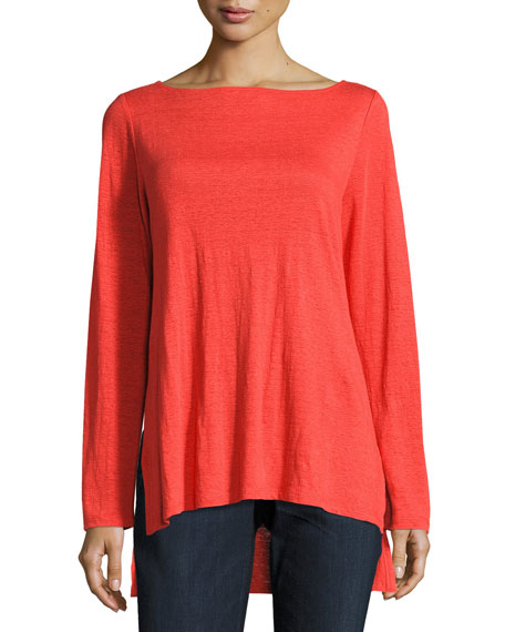Eileen Fisher Bateau-Neck Organic Linen Jersey Top, Petite