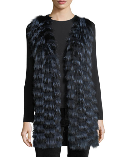 Cashmere Vest w/ Fox Fur Front & Sequin-Trim Back
