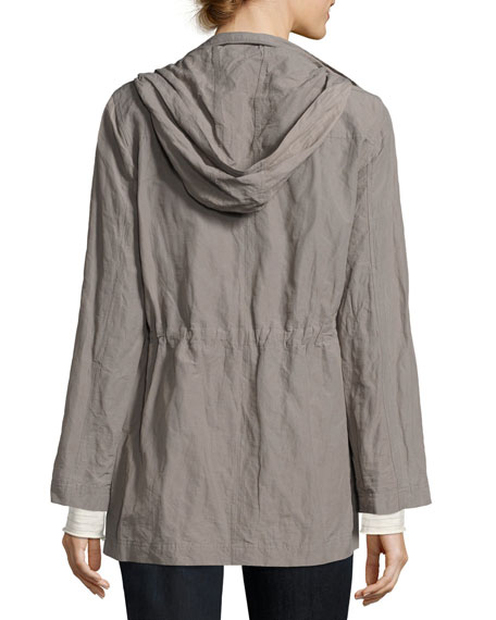 Rumpled Organic Cotton-Blend Hooded Jacket, Smoke