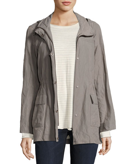 Eileen Fisher Rumpled Organic Cotton-Blend Hooded Jacket, Smoke