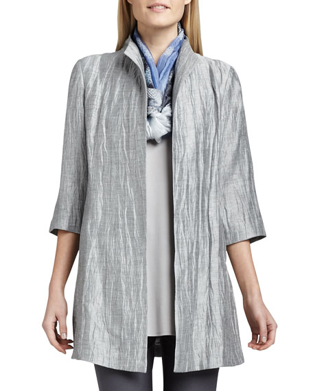 Eileen Fisher Washable Crinkle Sheen Jacket, Washable Slim