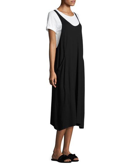 Lightweight Viscose Jersey Jumper Dress, Black