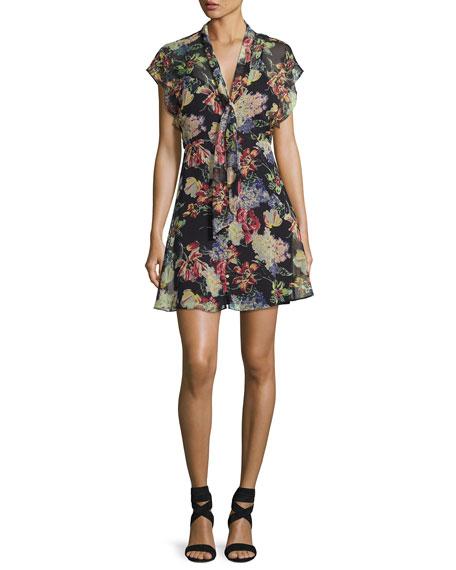 Haute Hippie Romeo Floral-Print Chiffon Dress, Multi