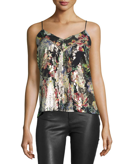 Haute Hippie Pintucked Floral Silk Camisole, Peggy Lee