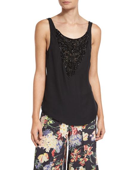 Haute Hippie Casino Embellished Silk Tie-Back Blouse, Black