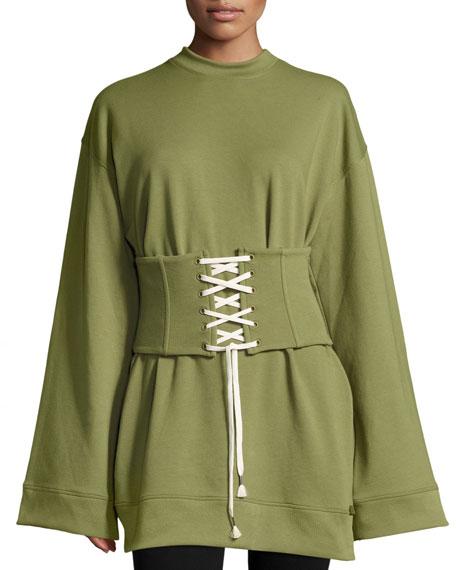 Fenty Puma by Rihanna Crewneck Corset Sweatshirt, Green