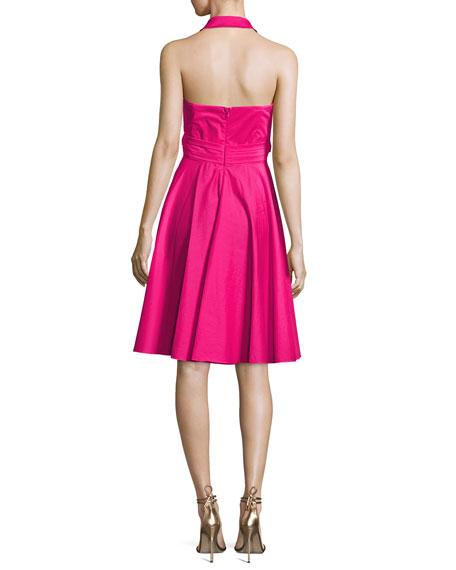 Sleeveless Tie-Waist Wrap Dress, Hot Pink
