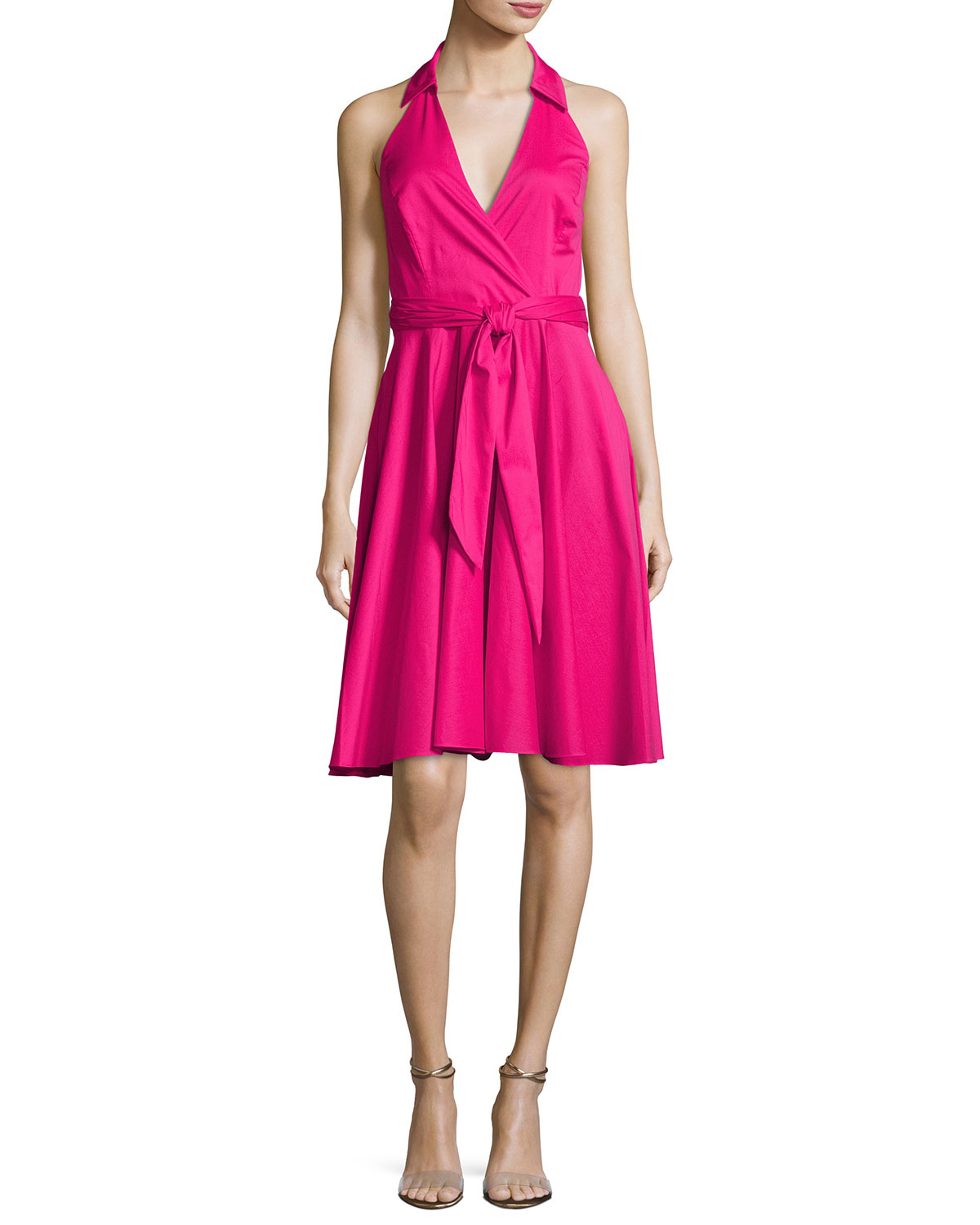 Neiman Marcus Pink Home Decor Ebth: Badgley Mischka Platinum Sleeveless Tie-Waist Wrap Dress