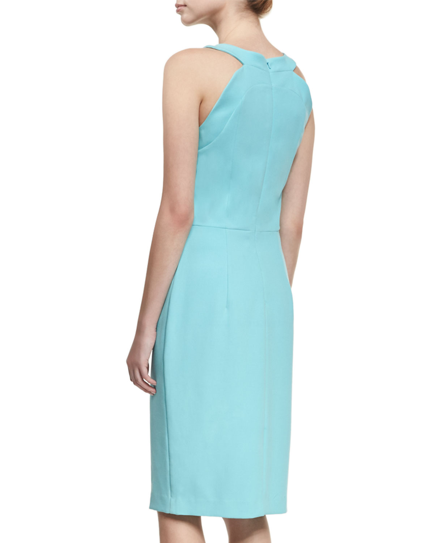 5fffea61 Black Halo Marcelle Sleeveless Stretch Crepe Sheath Dress, Bright Blue |  Neiman Marcus