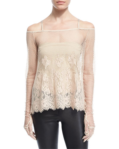 B-Ball Mesh Lace Long-Sleeve Top