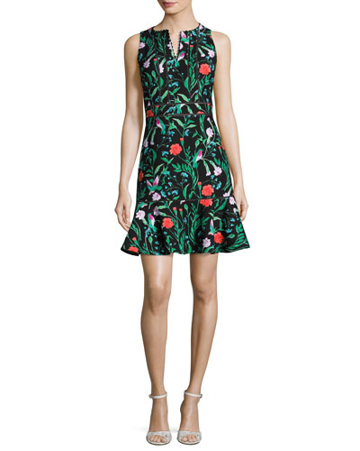 sleeveless paneled jardin flounce dress, black