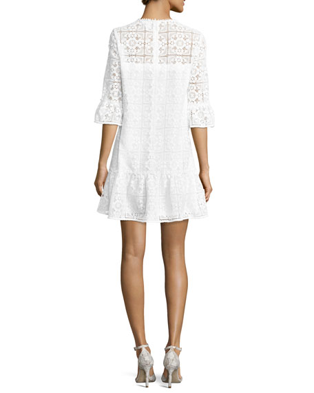 3/4-sleeve lace flounce shift dress, fresh white