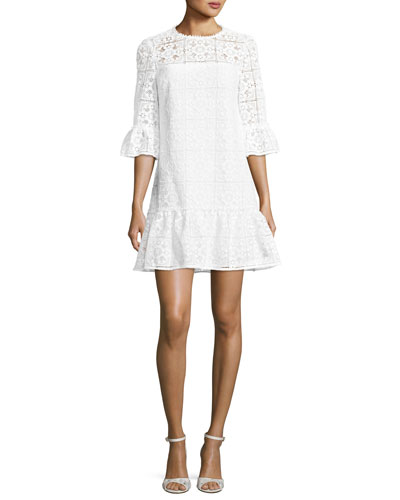 3/4-sleeve lace flounce shift dress, fresh white