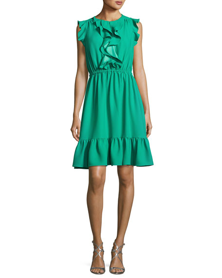 sleeveless crepe ruffle dress, beryl green