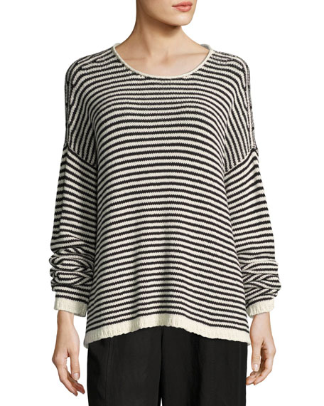 Eileen Fisher Cozy Striped Box Top, Soft White/Black,