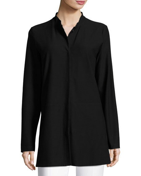 Washable Crepe Long Jacket