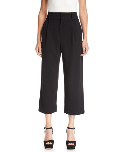 Rosalinda High-Waist Wide-Leg Crepe Ankle Pants