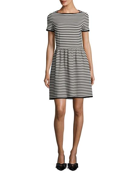 kate spade new york short-sleeve striped ponte dress,