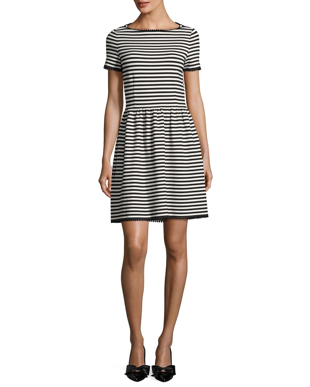c5988dbd9103 kate spade new york short-sleeve striped ponte dress
