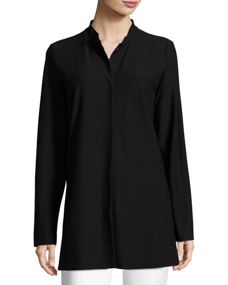 Washable Crepe Long Jacket, Petite