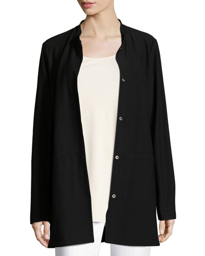 Washable Crepe Long Jacket  Petite