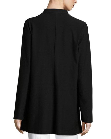 Washable Crepe Long Jacket, Plus Size