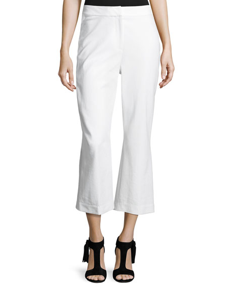 cropped flare stretch pants, fresh white
