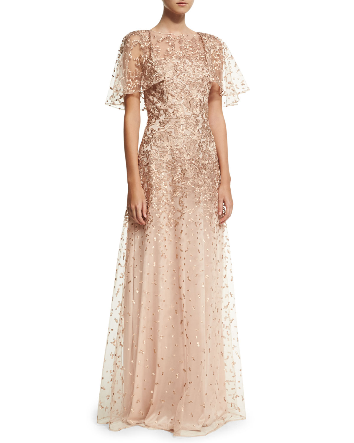 David Meister Wing-Sleeve Embroidered Lace Gown, Rose Gold | Neiman ...