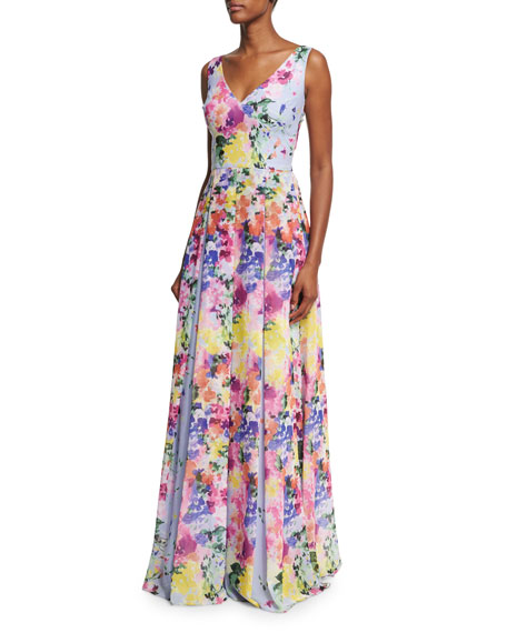 David Meister Sleeveless Floral Pleated Evening Gown,