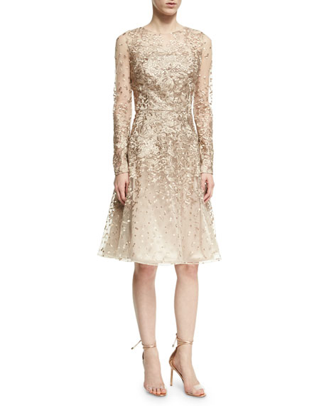 David Meister Long-Sleeve Lace Cocktail Dress, Platinum