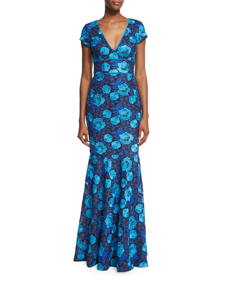 David Meister Cap-Sleeve Floral Lace Gown, Blue/Navy