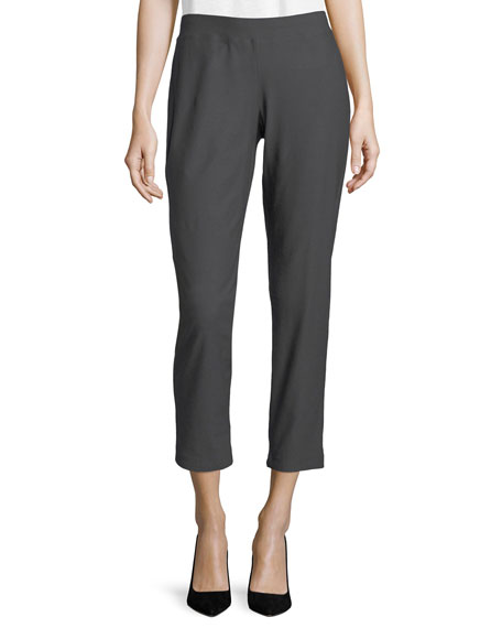 Eileen Fisher Washable Crepe Slim-Leg Ankle Pants, Plus