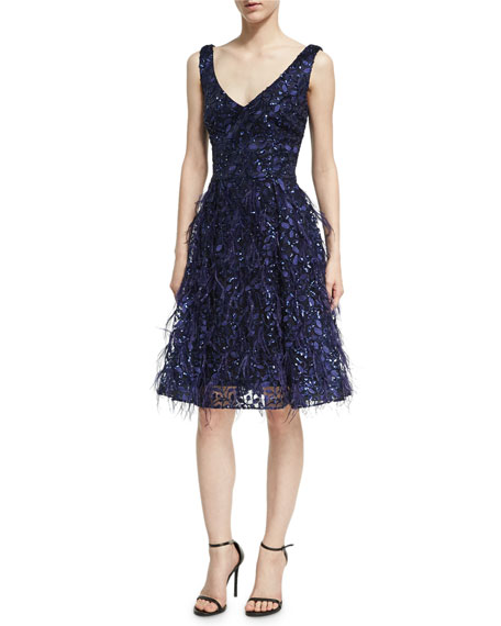 David Meister Sleeveless Lace Eyelash Dress, Royal