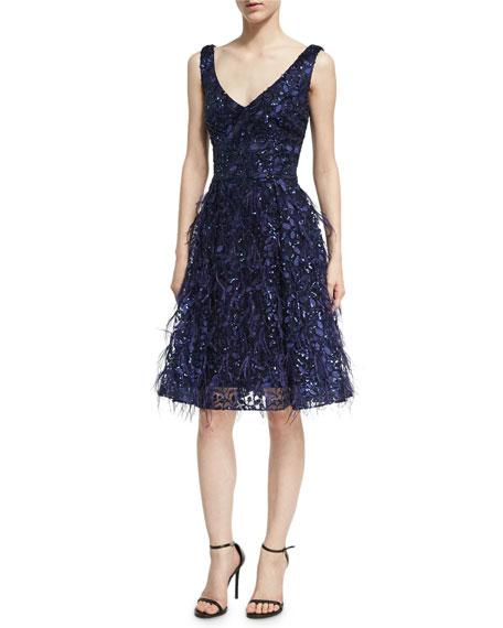 Sleeveless Lace Eyelash Dress, Royal