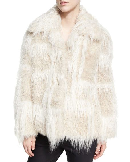 Helmut Lang Two-Tone Faux-Fur Jacket, Cream