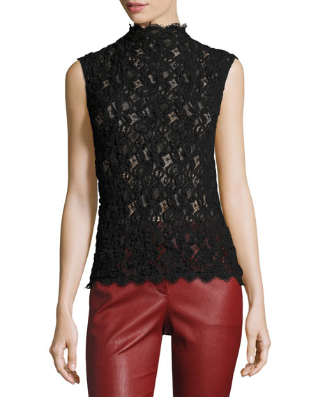 Helmut Lang Lace Embossed Shell Top, Black