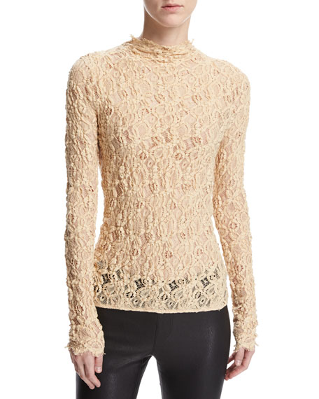 Helmut Lang Long-Sleeve Embossed Lace Top, Brown