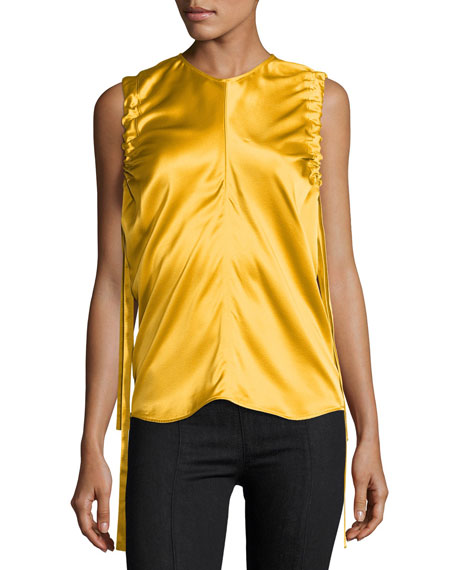 Helmut Lang Ruched Armhole Sateen Silk Tank, Yellow