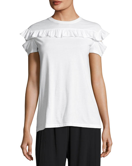 Helmut Lang Ruffled Split-Sleeve Cotton Tee, White