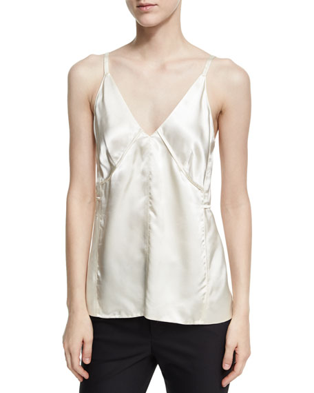 Helmut Lang Deconstructed Sateen Slip Top, White